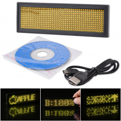 Mini Rechargeable yelow led Programmable Display Name Badge Scrolling With USB Programming, Different Languages, 8 Compatible