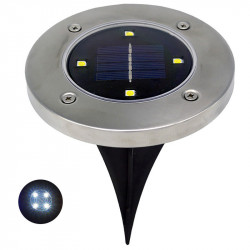 1pc Solar Powered 4LEDs Solar Light Outdoor LED Garden Light Lawn Path Yard Fence Stainless Steel Buried Inground Lamp