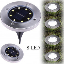 8 LED Solar Powered Seped Light Lampada da terra Outdoor Path Way Garden Decking sensore automatico Acciaio inox 8 ore