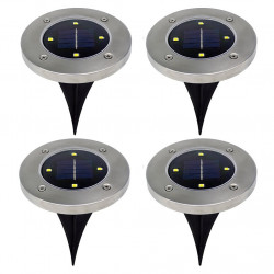 4pc Solar Powered 4LEDs Solar Light Outdoor LED Garden Light Lawn Path Yard Fence Stainless Steel Buried Inground Lamp