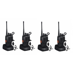 4 x Baofeng BF-888S 16-Channel UHF 400-470MHz Walkie Talkie Pair 2-Way FM Radio Rechargeable Transceiver 3 Kilometer Range