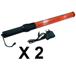 2 Baton rechargeable torch light red traffic signaling plane car road policing