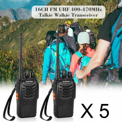 10 Talkie walkie 446mhz batterie rechargeable chargeur 16 Canaux UHF 400-470 MHz Baofeng BF-888S
