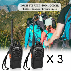 6 x Baofeng BF-888S 16-Channel UHF 400-470MHz Walkie Talkie Pair 2-Way FM Radio Rechargeable Transceiver 3 Kilometer Range