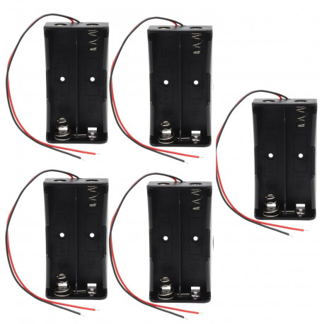5 x 3.7V Clip Holder Box Case Black With Wire for 2 18650 Battery