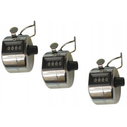 3 Chrome mechanical 4 digit counts 0-9999 hand held manual tally counter clicker golf