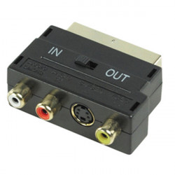 Scart-adapter männlich 21 pin rgb / 3 rca s-video-scart-av audio avb044 56g schalter tv in out