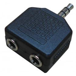 Adapter jack male right 3.5 stereo to 2 x jack female right 3.5 stereo