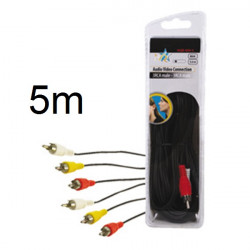 Audio -video-kabel 3 cinch- stecker auf 3 cinch- stecker 5 m hq hqb 004 5 patchkabel konig