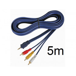 Cable audio video jack mâle 3.5mm avb020/5.0 4 broches vers 3 x rca mâle 5m