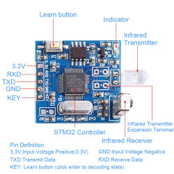 General Infrared Decoding Module UART Controller IR Remote Copyer Support Air Conditioning YS-IR05F