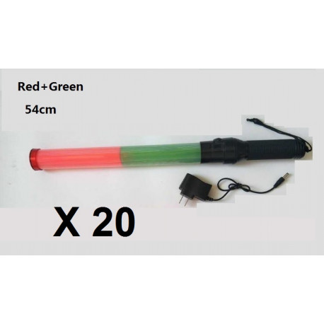 20 Baton Light Rechargeable Led Green Red Lighting Traffic Road Airport Train Signaling Jr International Eclats Antivols