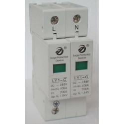 Surge electric 275v 220v din rail 2 pole surge arrester type 2 40ka ly1 c40 2p