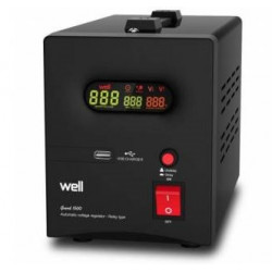 Automatic voltage stabilizer with 1500VA relay, black Well