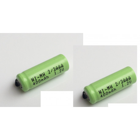 2 x 1.2V 2/3AAA rechargeable battery 400mah 2/3 AAA ni-mh nimh cell with tab pins for electric shaver razor cordless