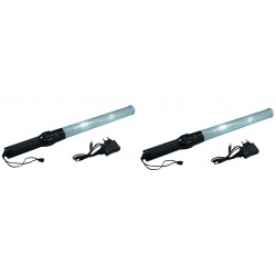 2 Baton rechargeable torch white red traffic signaling plane car road policing