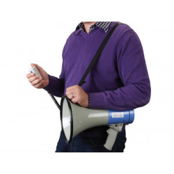 Power megaphone 25w hand held megaphone with shoulder strap. whistle and siren