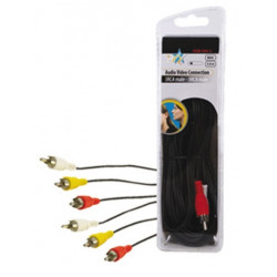 Audio video cable 3 rca male to 3 rca male 5 m hq hqb 004 5 patch cord konig