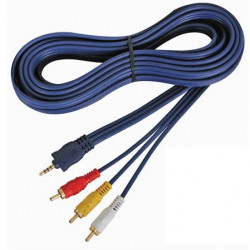 Audio video cable 4p male jack 3.5mm to 3 x rca male, 5m