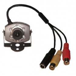 Camera 1 4'' electronic b w camera + 3.6mm lens + audio + pir leds+ metal case, 9 12vdc black and white audio mini camera metal