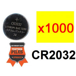 Lot 1000 x piles bouton lithium cr2032 3v capacite 230ma alimentation tension 3 volts cr2032c